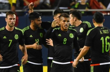 Miguel Layun, Jonathan Dos Santos, and Antonio Rios celebrate one of Mexico's many goals on the night. (Photo Credit: USA Today Sports)