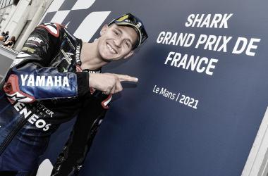 Fabio Quartararo tras conseguir la pole en Le Mans / Fuente: yamahamotogp.com