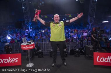 UK Open 2020 winner Michael Van Gerwen defeated newly-crowned World Number 1 Gerwyn Price in the final (Photo: Lawrence Lustig/PDC)