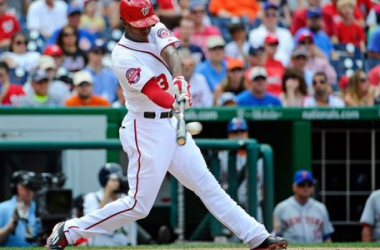 Michael Taylor ties the game with his big two-run single in the bottom of the 8th inning. (Photo: Brad Mills, USA Today)