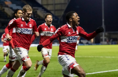 Middlesbrough's Chuba Akpom (right) celebrates scoring his side's third goal during the Sky Bet Championship match between Wycombe Wanderers and Middlesbrough at Adams Park on January 2, 2021 in High Wycombe, England. (Photo by Andrew Kearns - CameraSport via Getty Images)