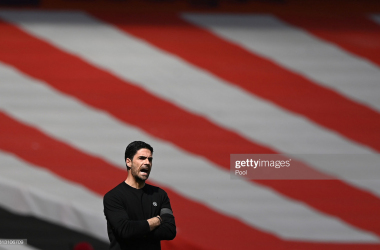 LONDON, ENGLAND - APRIL 18: Mikel Arteta, Manager of Arsenal reacts during the Premier League match between Arsenal and Fulham at Emirates Stadium on April 18, 2021 in London, England. Sporting stadiums around the UK remain under strict restrictions due to the Coronavirus Pandemic as Government social distancing laws prohibit fans inside venues resulting in games being played behind closed doors. (Photo by Facundo Arrizabalaga - Pool/Getty Images)