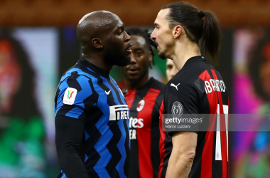 Romelu Lukaku and Zlatan Ibrahimovic in a heated argument. (Photo by Marco Luzzani/Getty Images)