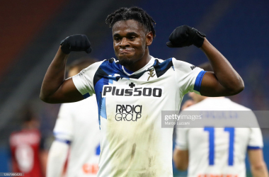 Duvan Zapata celebrates his decisive goal. (Photo by Marco Luzzani/Getty Images)
