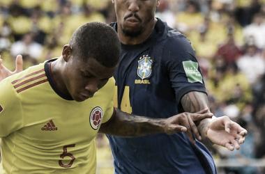 Militao durante el encuentro frente a Colombia. Fuente: Real Madrid