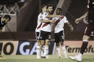 De La Cruz y Scocco tuvieron una gran actuación y aportaron un gol cada uno, para la goleada ante Lanús. Foto: River Oficial.