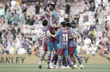 El equipo azulgrana celebrando el gol de Ansu Fat en su vueltai.| Foto: FC Barcelona