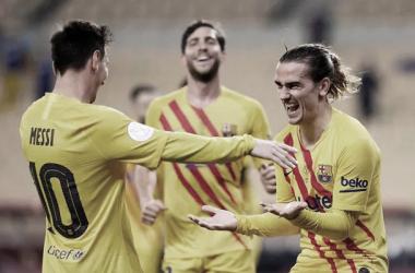 Messi y Griezmann celebrando uno de los goles. | Foto: German Parga - FC Barcelona