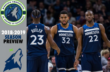 Minnesota Timberwolves forward Jimmy Butler (23), center Karl-Anthony Towns (32) and guard Andrew Wiggins (22) after a timeout in the second quarter against the Dallas Mavericks at Target Center. |Brad Rempel-USA TODAY Sports|