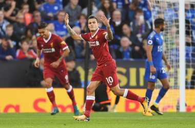 Coutinho arreando a la grada tras un gol (Liverpool FC twitter oficial)