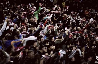 Los aficionados franjirrojos en el partido ante el Eibar   Fotografía: Rayo Vallecano S.A.D.