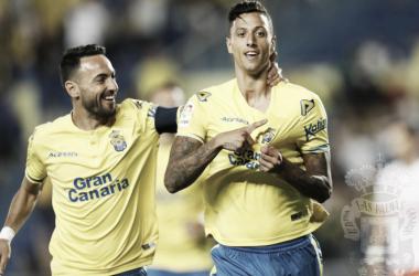 Maikel Mesa celebrando un gol // Fuente: Las Palmas