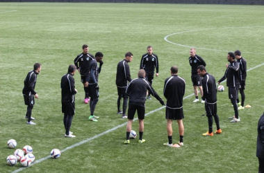Members of Minnesota United FC practice prior to an exhibition game in Portland earlier this season. (Photo Courtesy MN United)