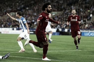 Salah comemora o gol da vitória sobre o Huddersfield, nesse sábado (Reprodução / Liverpool FC)