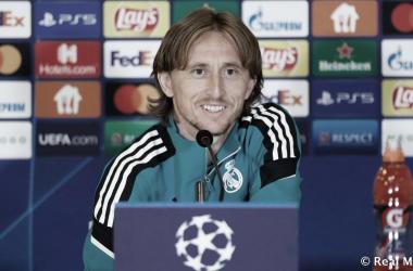 Luka Modric, en la rueda de prensa previa al partido frente al Shakhtar. Foto: realmadrid.com