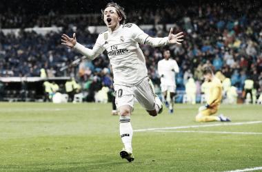 Modric celebra el segundo gol ante el Sevilla/ Foto: Real Madrid