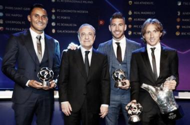 Navas, Pérez, Ramos y Modric en la gala / Foto: Marca