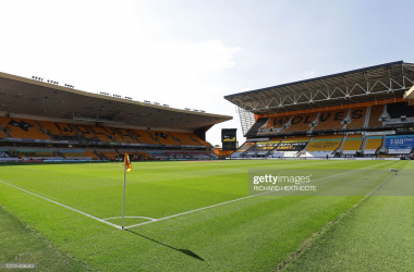 The empty stadium is seen in the sunshine on the hottest day of the year ahead of the English Premier League football match between Wolverhampton Wanderers and Bournemouth at the Molineux stadium in Wolverhampton, central England on June 24, 2020. (Photo by Richard Heathcote / POOL / AFP) / RESTRICTED TO EDITORIAL USE