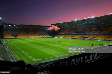 WOLVERHAMPTON, ENGLAND - DECEMBER 01: `A general view of a sun set at Molineux Stadium the home of Wolverhampton Wanderers after the Premier League match between Wolverhampton Wanderers and Sheffield United at Molineux on December 1, 2019 in Wolverhampton, United Kingdom. (Photo by Matthew Ashton - AMA/Getty Images)