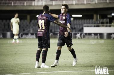 Monchu y Ballou Tabla, celebrando un gol | Foto: Noelia Déniz - VAVEL