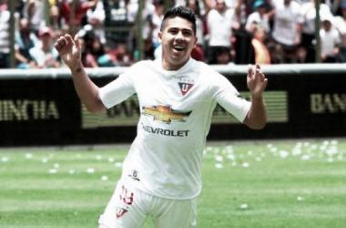 """""""Cachete"""" Morales en Liga de Quito. Foto: Tera Deportes."""