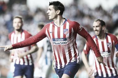 Celebración de su segundo gol. /Foto: Club Atlético de Madrid.