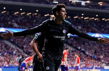 Morata celebra el 1-1 (Chelsea FC twitter oficial)