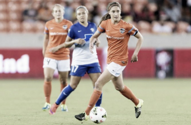 Morgan Brian during an NWSL game against the Boston Breakers | Source: houstondynamo.com/houstondash