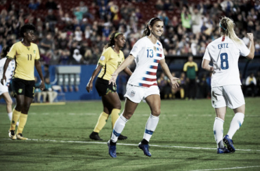 Alex Morgan celebrates after scoring against Jamaica in the semifinals of the 2018 CONCACAF Women's Tournament. | Photo: Cooper Neill - Getty Images