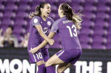 Marta and Alex Morgan celebrate a goal | Photo Courtesy: Orlando City SC