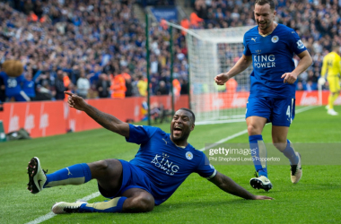 Wes Morgan celebrates what would turn out to be his winning goal against Southampton in 2016 | Photo: Getty/ Phil Shepard-Lews/Popperfoto