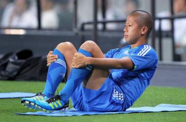 Morimoto con la maglia della nazionale del Sol Levante con cui ha giocato 10 gare, segnando 3 reti