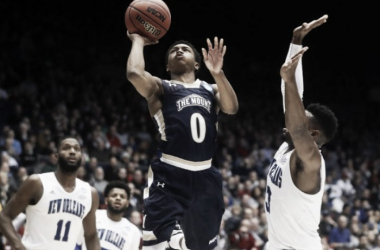 Junior Robinson goes up for what would be the game-winning shot during Mount St. Mary's First Four victory over New Orleans/Photo: John MInchillo/Associated Press