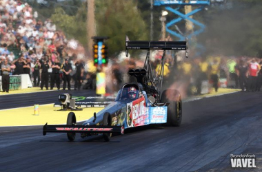 J.R. Todd Takes the Red Line Oil Dragster down the track to victory lane. - Brandon Farris/VAVEL USA