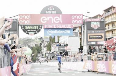 Maximilian Schachmann vince a Prato Nevoso.Foto Credit: LaPresse- D'Alberto / Ferrari / Paolone / Alpozzi