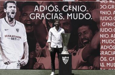 Mudo Vázquez en su despedida del Sevilla. | Imagen: sevillafc.es