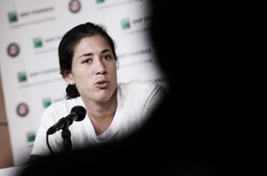 Muguruza, en la rueda de prensa previa a Roland Garros 2018. Foto: Roland Garros