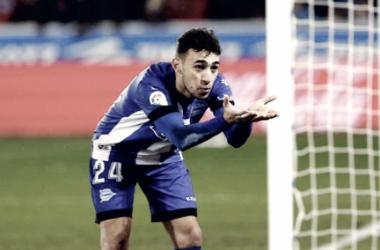 Munir celebra un gol en Mendizorroza. / Foto: LaLiga