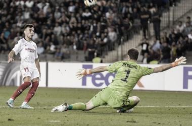 Munir hace el segundo gol ante el Qarabag. / Foto: Sevilla FC.