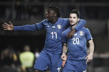 esultanza gol politano e kean (fonte foto twitter nazionale italiana di calcio)
