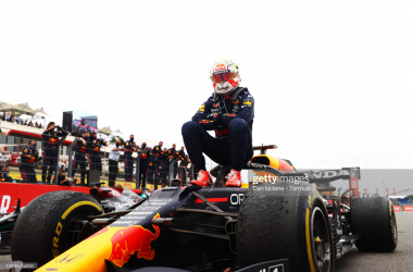 Max Verstappen celebrates victory at the French Grand Prix. (Photo by Dan Istitene - Formula 1/Formula 1 via Getty Images)