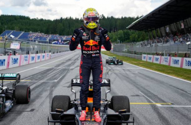 Max Verstappen celebrates victory in Stryia, his third at the Red Bull ring. (Photo by Darko Vojinovic / POOL / AFP) (Photo by DARKO VOJINOVIC/POOL/AFP via Getty Images)
