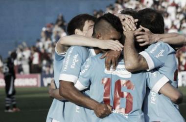 Los jugadores celebran el segundo tanto vs Wanderers. Foto. Alejandro Aparicio (Pasión Tricolor Radio)