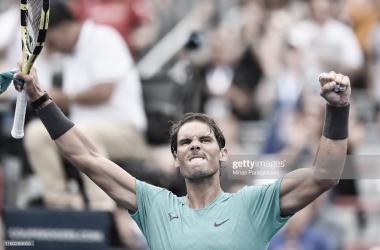 Rafael Nadal festeja el triunfo en la primera ronda en Montreal. Fuente: gettyimages