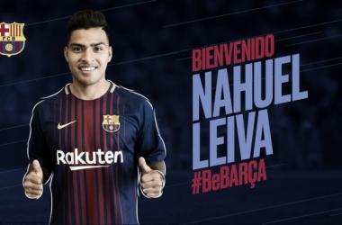 Cartel de bienvenida del FC Barcelona a Nahuel Silva | Foto: FC Barcelona