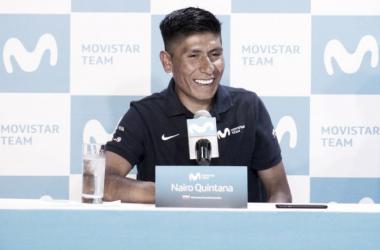 Nairo Quintana durante la rueda de prensa que ofreció | Foto: Movistar Team