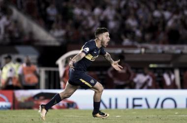 El joven uruguayo gritando el gol de la victoria en el último Superclásico. Foto: El Diario de la República