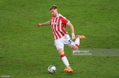 STOKE-ON-TRENT, ENGLAND - DECEMBER 23: Nathan Collins of Stoke in action during the Carabao Cup Quarter Final match between Stoke City and Tottenham Hotspur at the bet365 Stadium on December 23, 2020 in Stoke-on-Trent, England. (Photo by Simon Stacpoole/Offside/Offside via Getty Images)