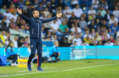 Stoke City manager Nathan Jones gestures during the Carabao Cup Second Round match between Leeds United and Stoke City at Elland Road. (Photo by Alex Dodd - CameraSport via Getty Images,)