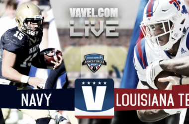 Score Louisiana Tech Bulldogs vs Navy Midshipmen of the 2016 Lockheed Martin Armed Forces Bowl (48-45)